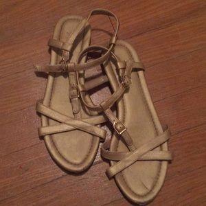 J crew golden gladiator sandals